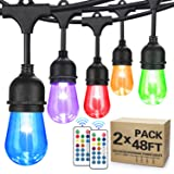 2-Pack 48FT Color Changing Outdoor String Lights, RGB Cafe LED String Light with 30+5 S14 Shatterproof Edison Bulbs Dimmable, Commercial Light String for Patio Backyard Garden, 3 Remote Control, 96FT (Color: RGB, Tamaño: 2 Pack 48FT)