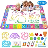 Aqua Magic Mat - Kids Painting Writing Doodle Board Toy - Color Doodle Drawing Mat Bring Magic Pens Educational Toys for Age 1 2 3 4 5 6 7 8 9 10 11 12 Year Old Girls Boys Age Toddler Gift (Pink) (Color: Pink)