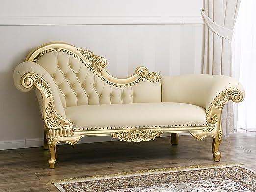 Divano dormeuse chaise longue stile Barocco Francese foglia oro ecopelle champagne bottoni Swarovski