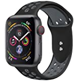 YOUKEX iWatch Band Compatible for Apple Watch Band 38mm 42mm Sport Band Women Men for Series 4,3,2,1 Soft Silicone Straps (Works for 40mm 44mm Watch) (Color: 01-Black/Gray, Tamaño: 42mm/44mm M/L)