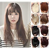 Clip in Bangs Hair Extensions Black Brown Blonde for Women One Piece Full Neat Fringe/ Side Bang 8''/20cm Thick Straight False Hairpiece with 2 Clips Accessories (Color: light brown-neat bangs, Tamaño: 1 pc)