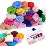 Needle Felting Kit, Zealor 36 Colors Needle Felting Wool Set with Needle Felting Starter Kit Wool Felt Tools