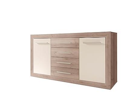 Stella Trading Fernando Kommode, Holz, buche / weiß, 46 x 168 x 89 cm