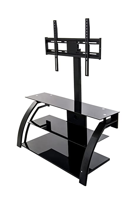 Home Source Industries TV11266 Modern TV Stand with Mount and Shelving for Components, Black/Metal