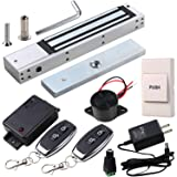 HWMATE Access Control System Kit with 600lbs Holding Force Magnetic Lock Exit Button Remote & Buzzer