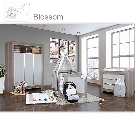 Babyzimmer Felix in akaziengrau 21 tlg. mit 3 turigem Kl. + Blossom in Weiß / Grau