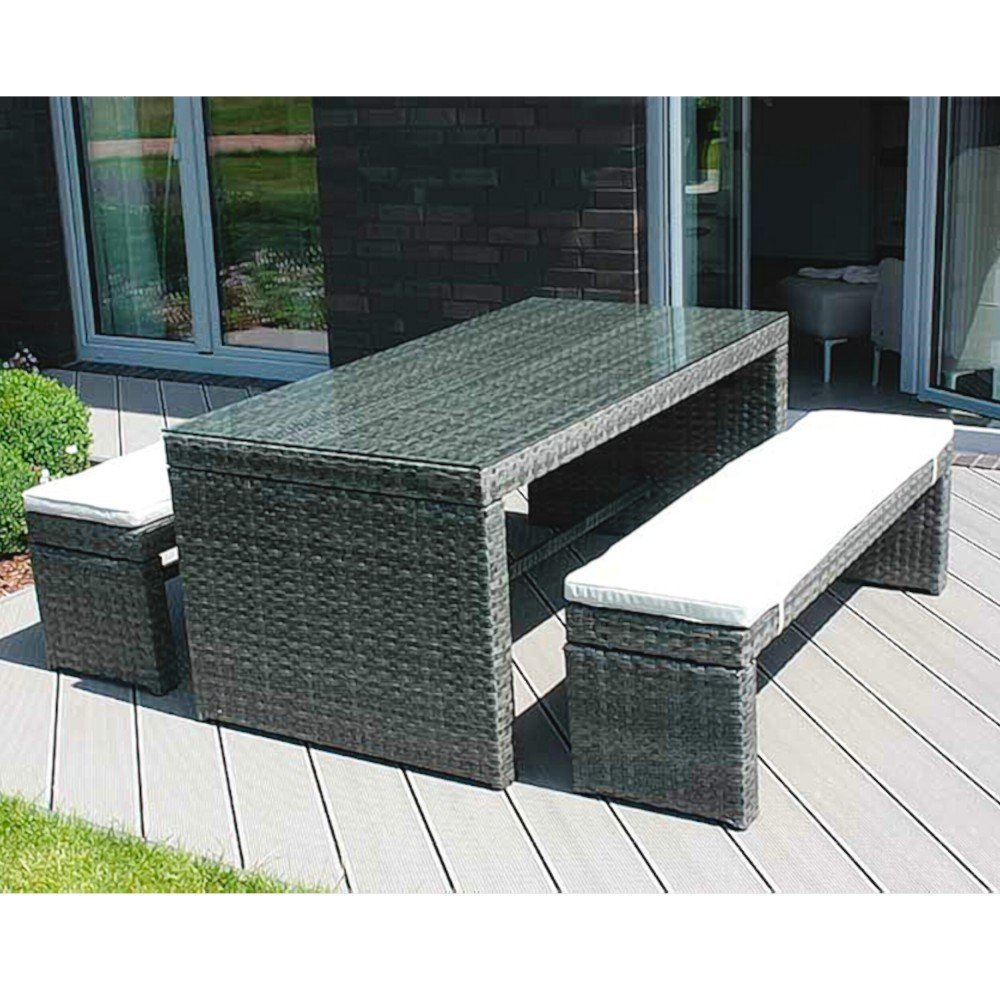 aluminium dinningset gartenm bel set aluminiumgestell polyrattangeflecht online bestellen. Black Bedroom Furniture Sets. Home Design Ideas