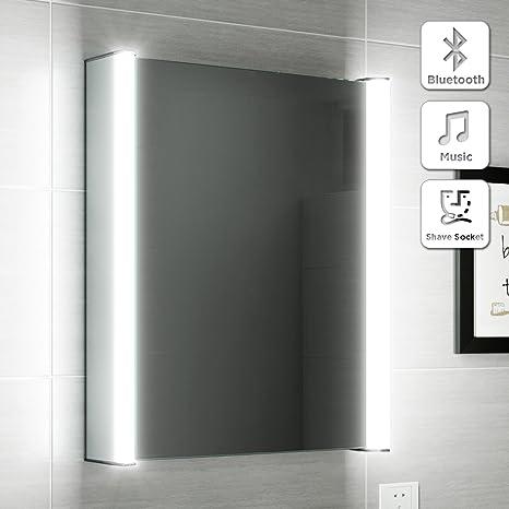 500 x 650 Illuminated LED Bathroom Mirror Cabinet Bluetooth Speaker + Shaver Socket MC129
