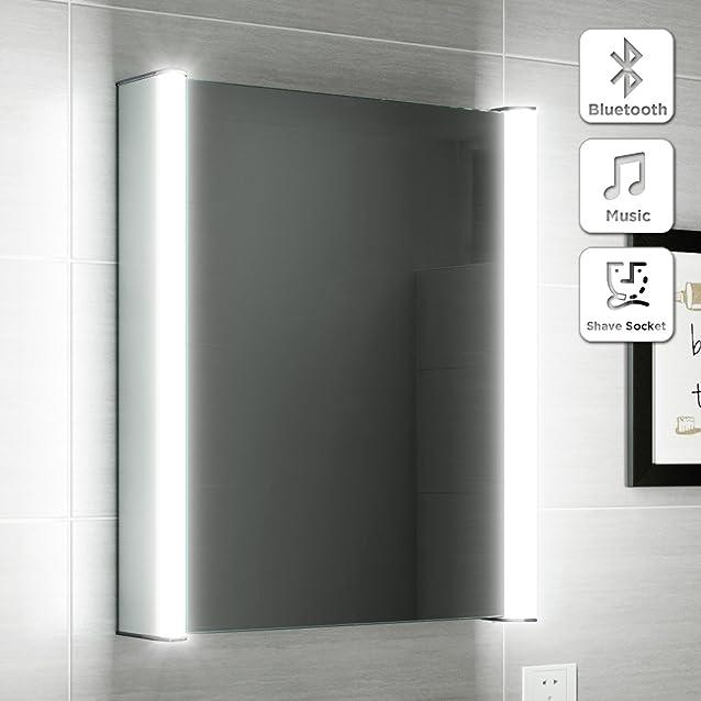soak Armadietto a Specchio per Bagno, con Illuminazione a LED, Altoparlante Bluetooth e Sensore di Movimento, 500 x 650 mm