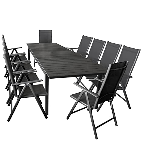 11er Gartenmöbel Set ausziehbarer Aluminium Gartentisch mit Polywood-Tischplatte 280/220x95cm Schwarz + 10x Hochlehner mit 2x2 Textilengewebe, Ruckenlehne 7-fach verstellbar