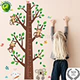 Height Measurement Growth Chart Tree Cute Monkey Wall Self Adhesive, Durable, Non Toxic Vinyl Decal Removable for Nursery, Playroom, Bedroom 4.5H x 3W ft by Piazza Amalfi (Color: Various)
