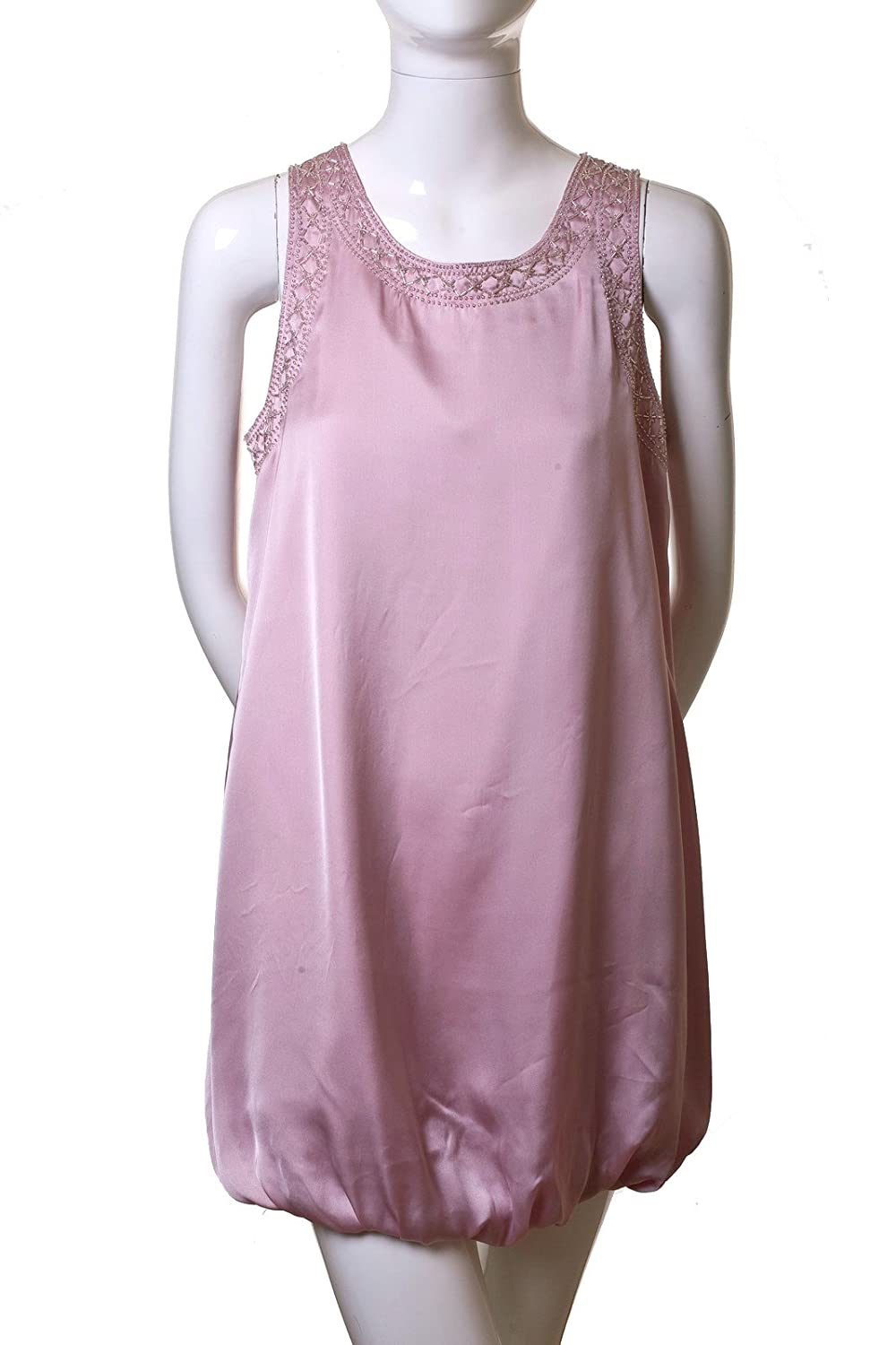Mustard Seed Sleeveless Sequin Embroidered Fully Lined Satin Bubble Dress Pink L