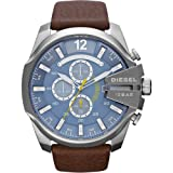 Diesel Men's DZ4281 Mega Chief Stainless Steel Brown Leather Watch (Color: Brown)