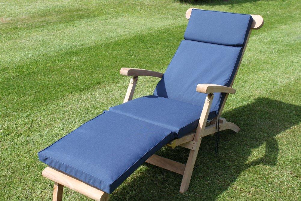 Gartenmöbel-Auflage - Auflage für Liegestuhl in Marineblau