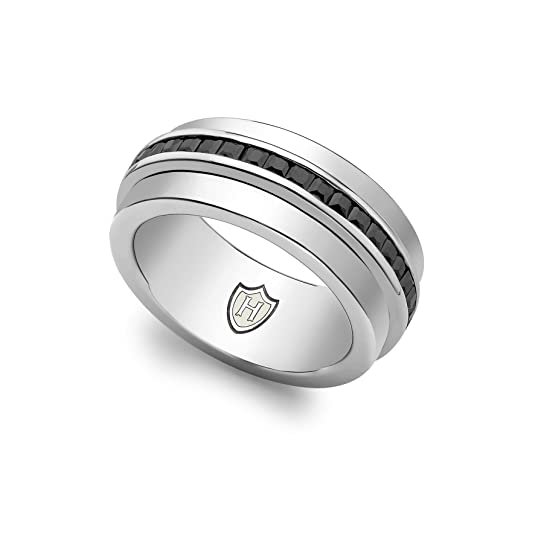 Hoxton London Men's Sterling Silver Stone Black CZ Spinning Ring