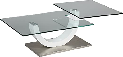 Tempered Glass Coffee Table-varnished-white tray with Swivel Base