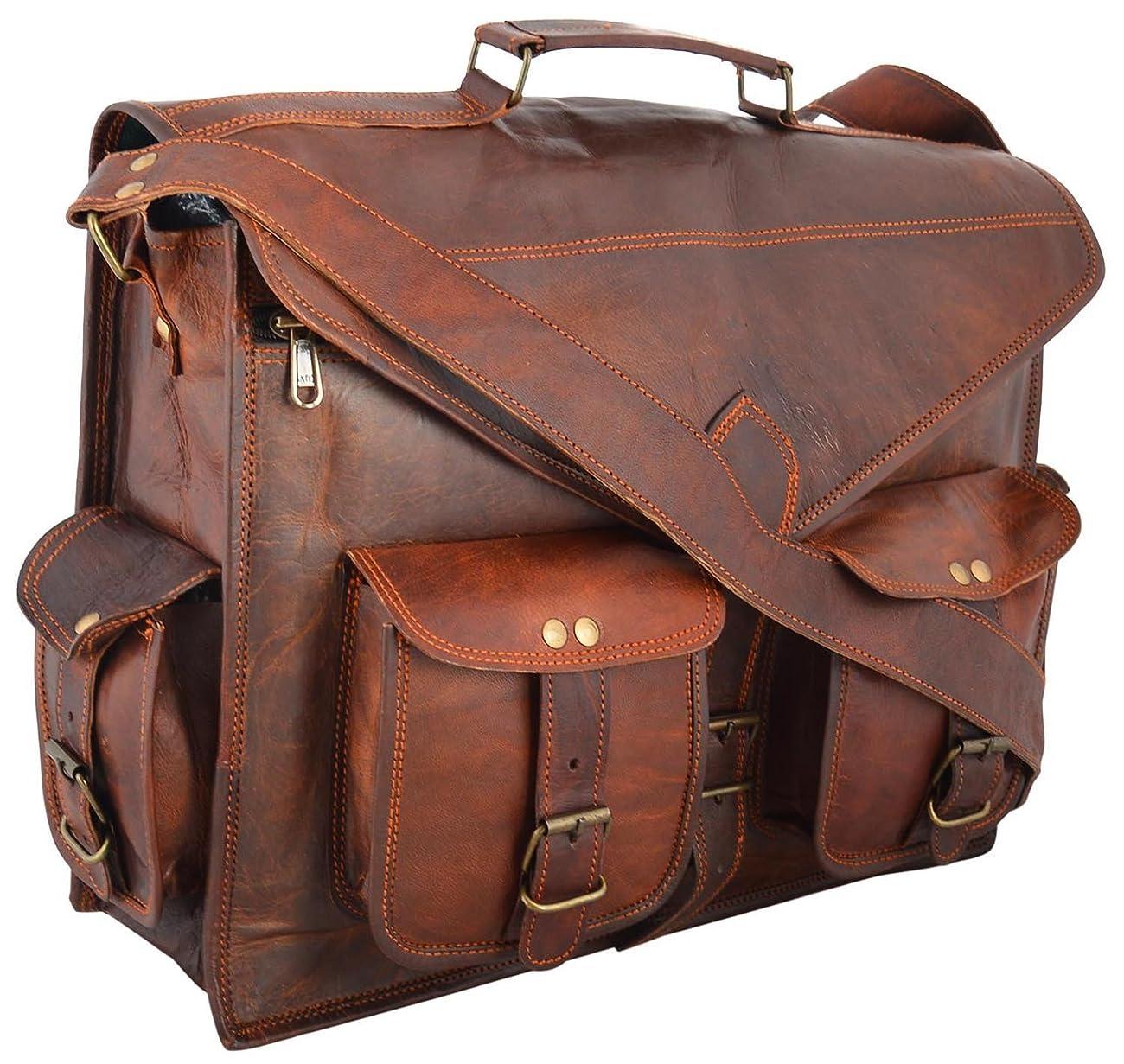Handmadecraft ABB 18 Inch Vintage Handmade Leather Messenger Bag for Laptop Briefcase Satchel Bag 0