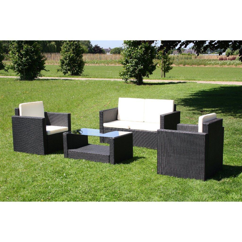 vidaXL Lounge Gartenmöbel Set aus schwarzem Poly Rattan jetzt kaufen