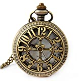 Retro Antique Bronze Skull Shaped Pocket Watch with 31 Inches Full Round Pocket Chain (Color: P203 - Number Design)