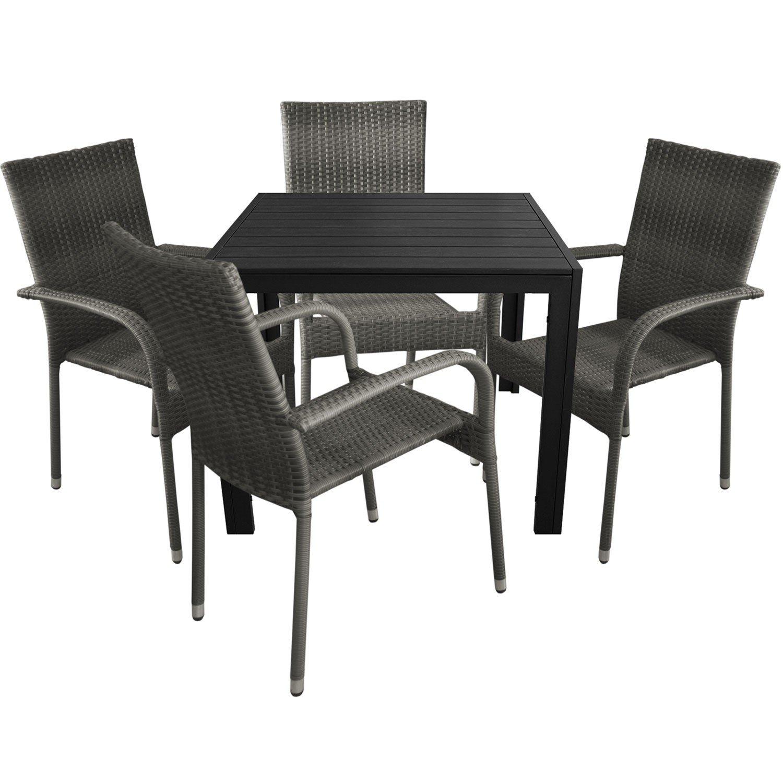 5tlg. Gartengarnitur Aluminium Gartentisch 90x90cm mit Polywood Tischplatte Polyrattan Stapelstuhl nordic grey
