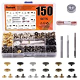 Rustark 150 Sets Leather Snap Fasteners Kit, 6 Colors Metal Button Snaps Press Studs with 4 Pieces Installation Tools for Leather Craft, Jackets, Jeans Wears, Bracelets and DIY Craft (12.5mm)