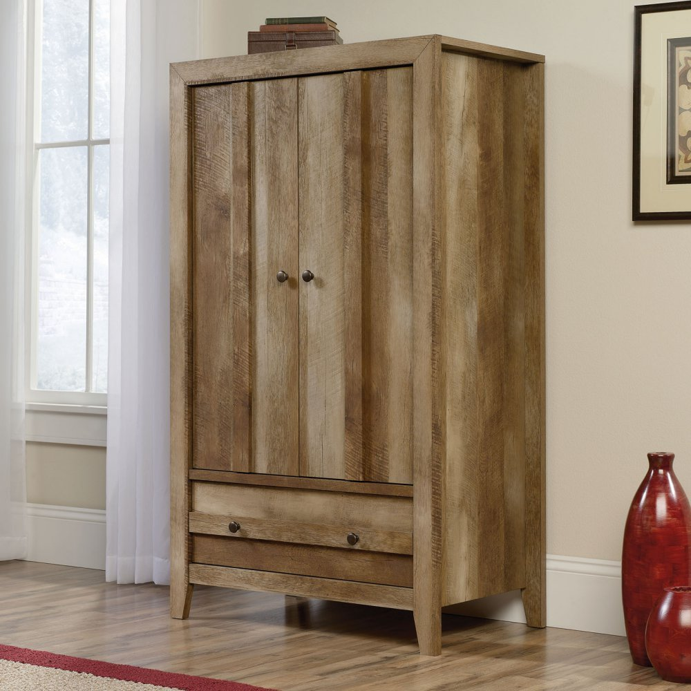 sauder dakota pass armoire in craftsman oak. Black Bedroom Furniture Sets. Home Design Ideas