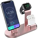 OLEBR Charging Stand Charging Docks Suitable for Apple Watch Series 4/3/2/1/ AirPods/iPhone Xs/iPhone Xs Max/iPhone XR/X/8/8Plus/7/7 Plus /6S /6S Plus/iPad-Rose Gold (Color: Rose Gold)