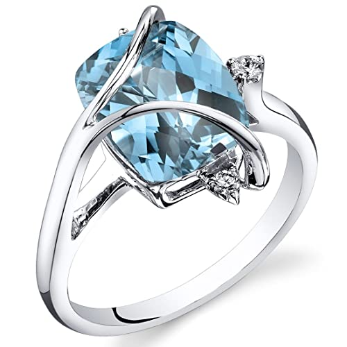 Revoni Swiss Blue Topaz Diamond Ring 14ct White Gold Cushion Checkerboard Cut 4.5 Carats