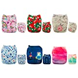 ALVABABY Cloth Diapers One Size Adjustable Washable Reusable for Baby Girls and Boys 6 Pack + 12 Inserts 6DM53 (Color: Sets 6DM53, Tamaño: All in one)