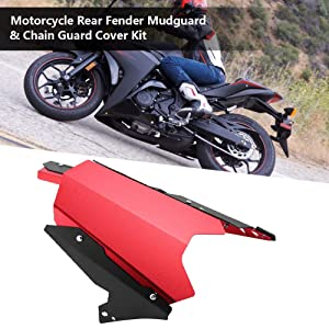 Hlyjoon Motorcycle Rear Tire Fender Mudguard CNC Aluminum Alloy Black Red Mount Wheel Tire Mud Chain Cover Shield Dust Flap Dashboard Splash Guard for YZF R3 R25 2013 2014 2015 206 2017 Red