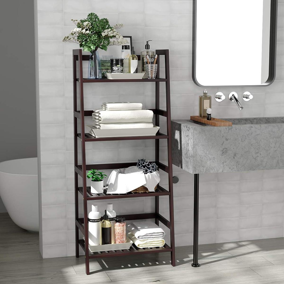 Homfa Bamboo 4 Shelf Bookcase, Multifunctional Ladder Shaped Plant Flower Stand Rack Bookrack Storage Shelves, Retro Color