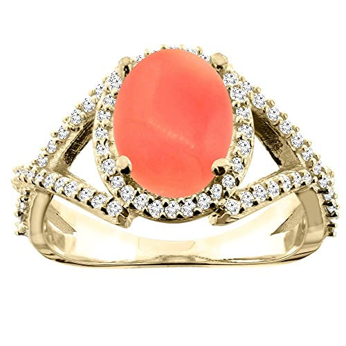 14ct Yellow Gold Natural Coral Ring Oval 10x8mm Diamond Accent 1/2 inch wide, sizes J - T