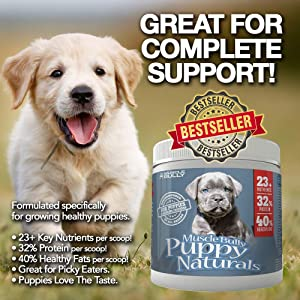 Muscle Bully Puppy Naturals - A Multi-Vitamin Formula for Growing Puppies - Supports Growth, Health, Skin, Coat & Overall Well-Being, Veterinarian Formulated, Made in USA - (225 Serving) (Tamaño: 225 Servings [Most Popular])