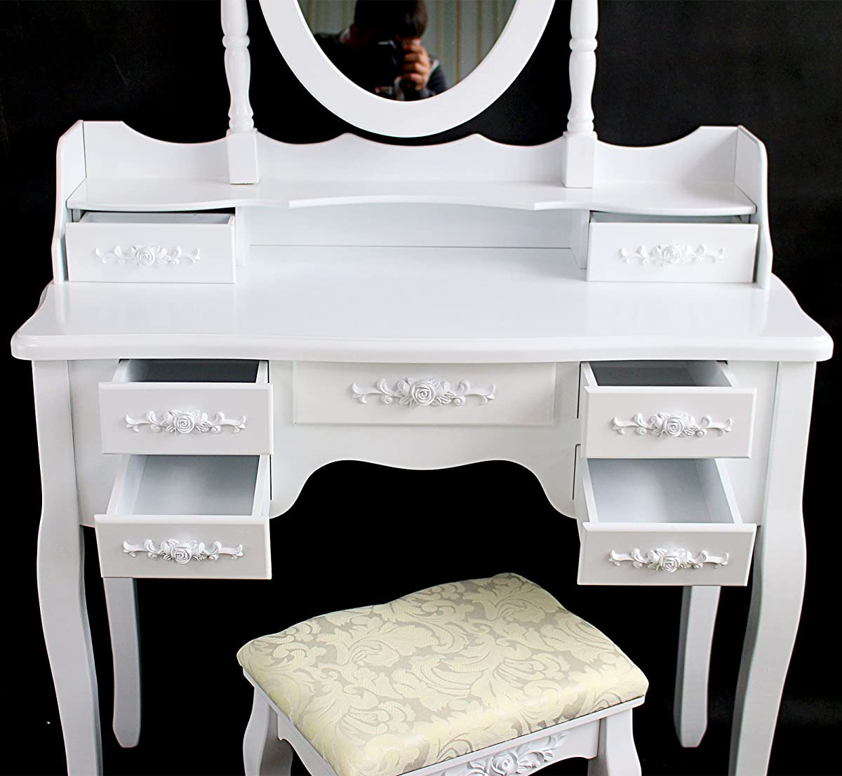 Tribesigns Wood Makeup Vanity Table Set with Mirror and Stool Bedroom Dressing Table Dresser Desk, White