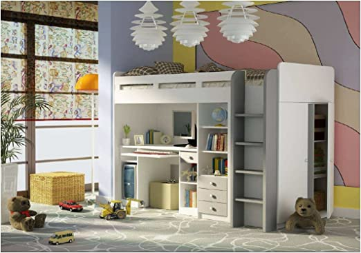 Combi Matt White & Silver Bunk Bed With Book Shelf, Computer Desk and Side Wardrobe (27XD1T03)
