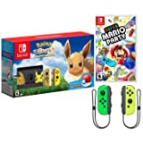 Nintendo Switch Pokemon and Mario Bundle: Nintendo Switch Pokemon Let's Go Eevee Edition Bundle, Super Mario Party with Extra Neon Green and Yellow Joy-Con