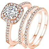 Jude Jewelers Silver Rose Gold Three-in-One Wedding Engagement Bridal Halo Ring Set (Rose Gold, 12) (Color: Rose Gold)