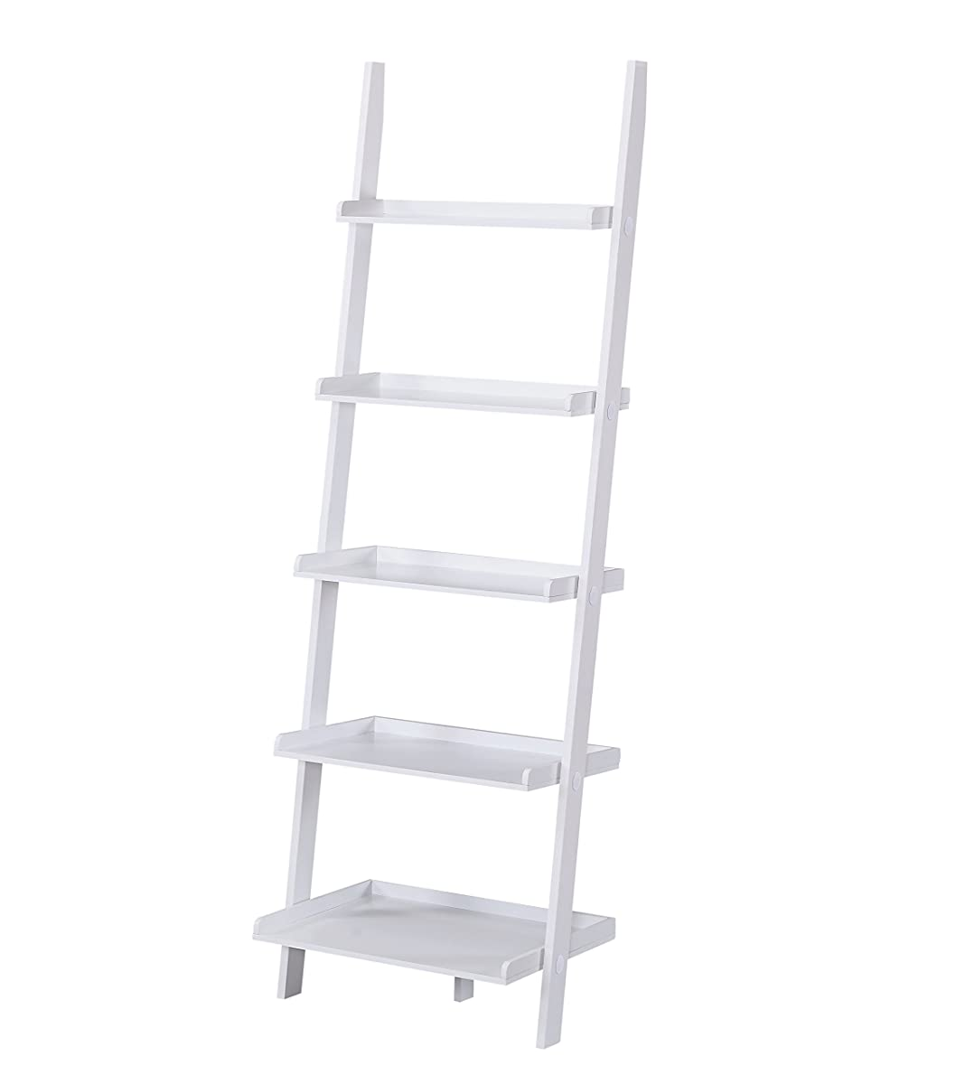 """White Finish 5 Tier Bookcase Shelf Ladder Leaning - 72"""" Height"""