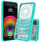 LG X Power Clear Case ,LG K6P/K210 Case with HD Screen Protector , AnoKe Mandala Ultra Slim Hard Cover TPU Phone Cover Case For LG X Power [K6p K210 (2016) K450 K6 K6P K220 US610]TM CH Mint