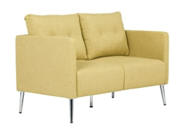 Massivum 10023420 Sofa 2Sitzer Melrose senf Chromfuße, Stoff, gelb, 63 x 102 x 89 cm