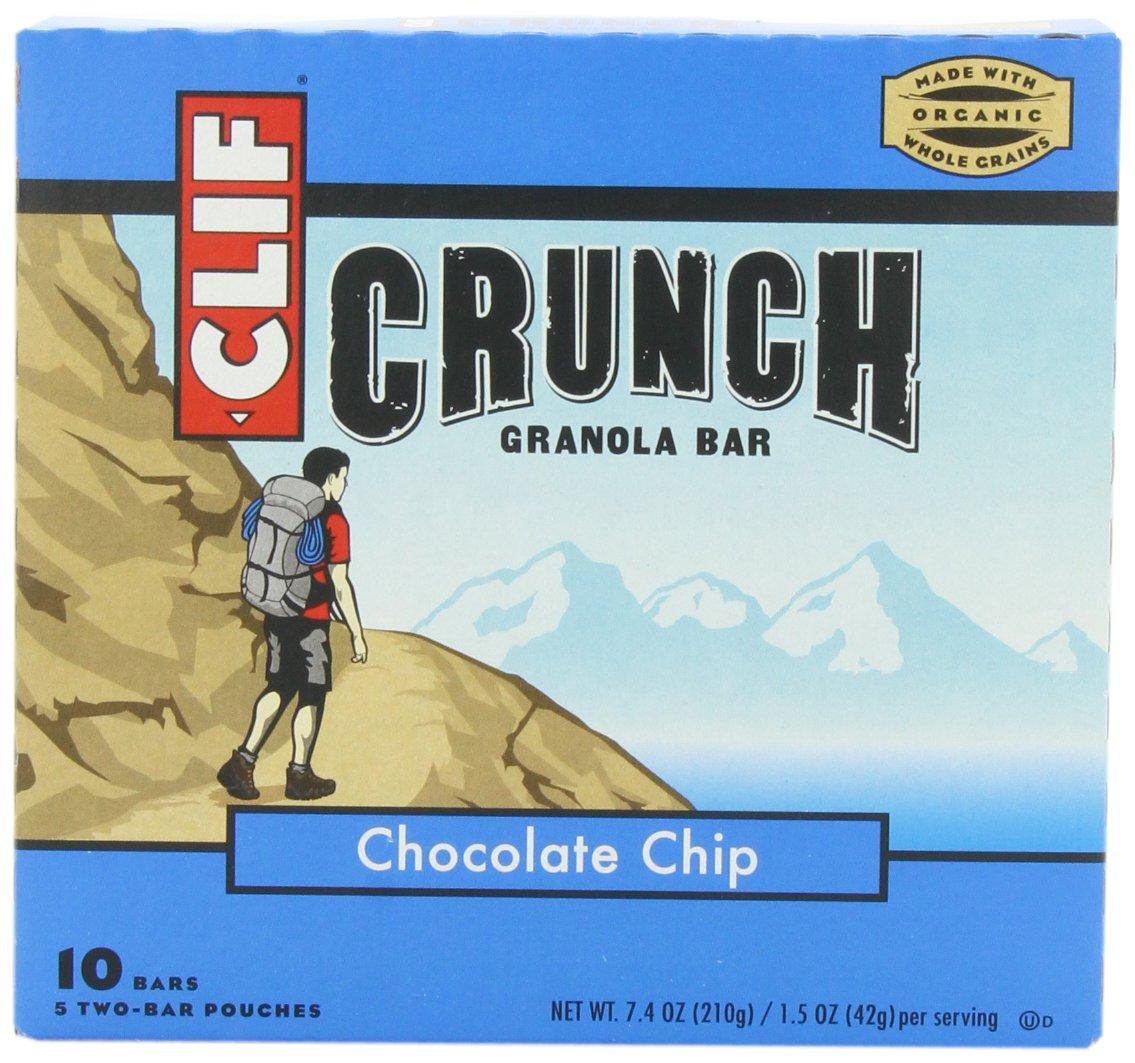Clif Crunch Granola Bar, Chocolate Chip, 5 Two-Bar Pouches, 7.4oz