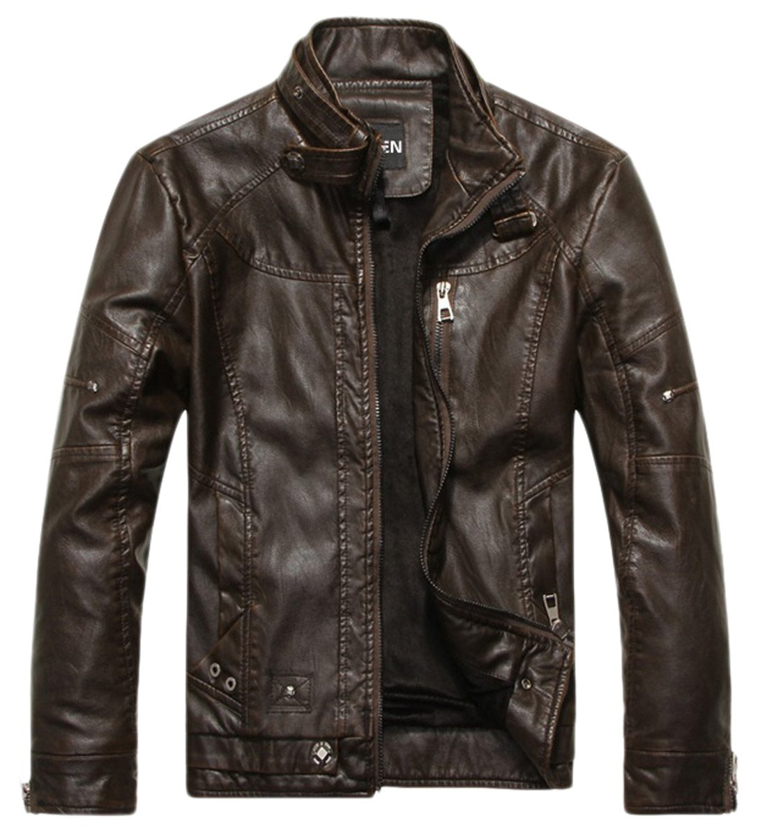 Chouyatou Men's Vintage Stand Collar Pu Leather Jacket 0