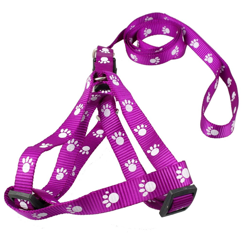 все цены на Purple Nylon Dog Pet Harness Leash Set Paw Print Walking Adjustable Size S онлайн