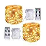 TingMiao 2 Pack 33 Feet 100 Led Fairy Lights Battery Operated with Remote Control Timer Waterproof Copper Wire Twinkle String Lights for Bedroom Indoo