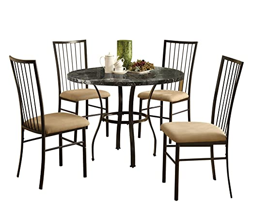 ACME 70495 Darell 5-Piece Pack Dining Set, Black Faux Marble Top