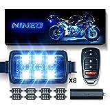 NINEO RGB LED Strip Lights Kit Multi-Color Neon w/Remote Controller for ATV UTV Cruiser Harley Davidson Ducati Suzuki Honda Triumph BMW Kawasaki Yamaha (Pack of 8) (Color: Neon, Tamaño: 1.8