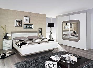 Edles Schlafzimmer Komplett Set Grimaldi mit Fango Glas Bett Schrank