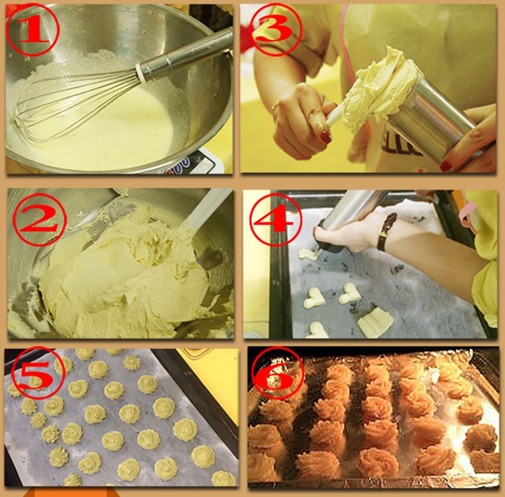 HuiJia Stainless Steel Biscuit Press Cookie Gun Set with 13 Discs and 8 Icing Tips