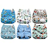 Mama Koala One Size Baby Washable Reusable Pocket Cloth Diapers, 6 Pack with 6 One Size Microfiber Inserts (Happy Winter) (Color: Happy Winter, Tamaño: One Size)