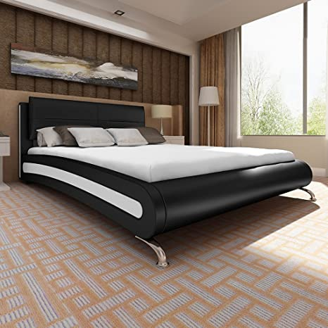Colour blanco/negro de piel sintética de ropa de cama de metal en los pies + colchón de 140 x 200 cm
